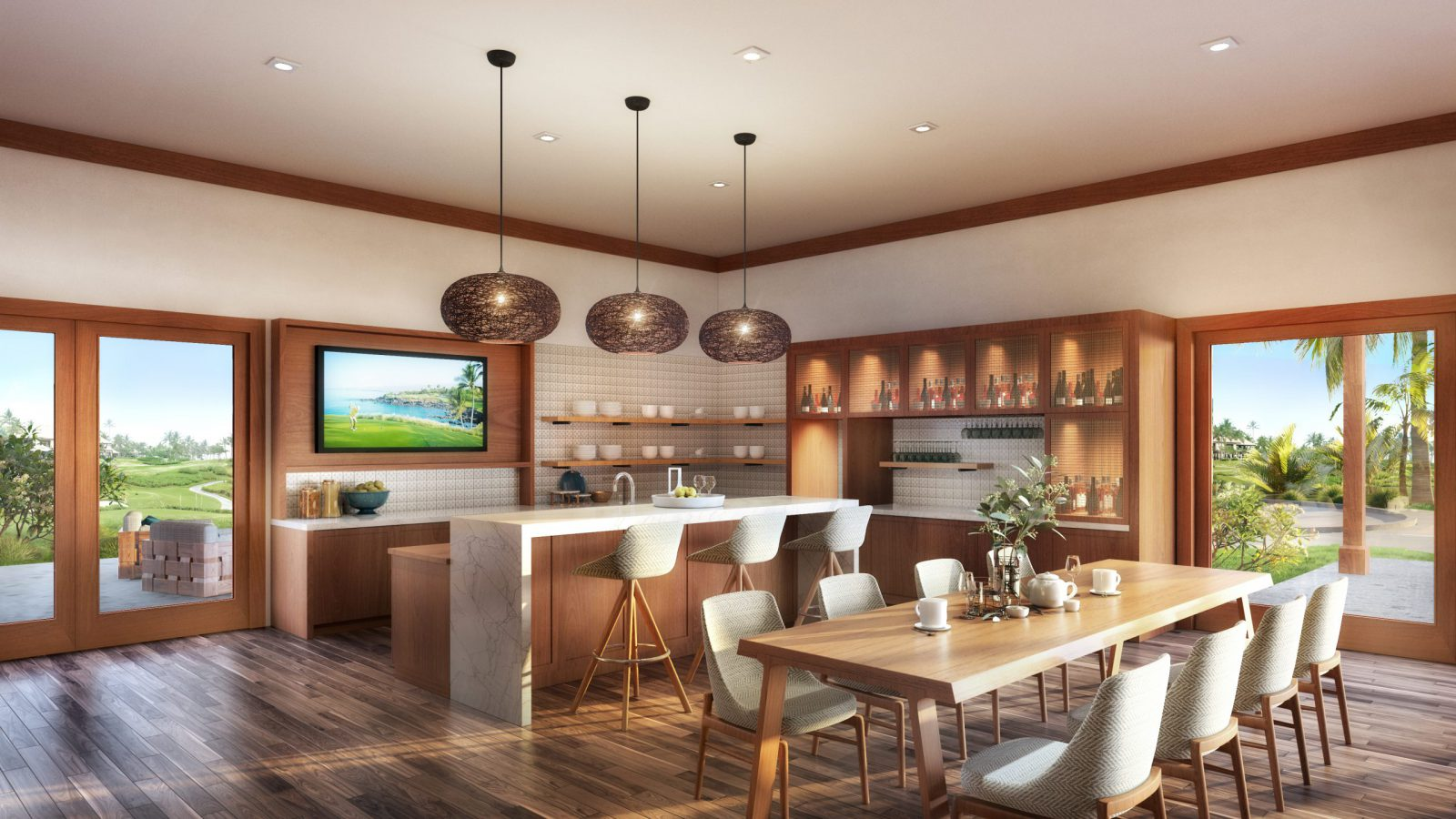 Lounge and Kitchen at golf academy looking over golf course