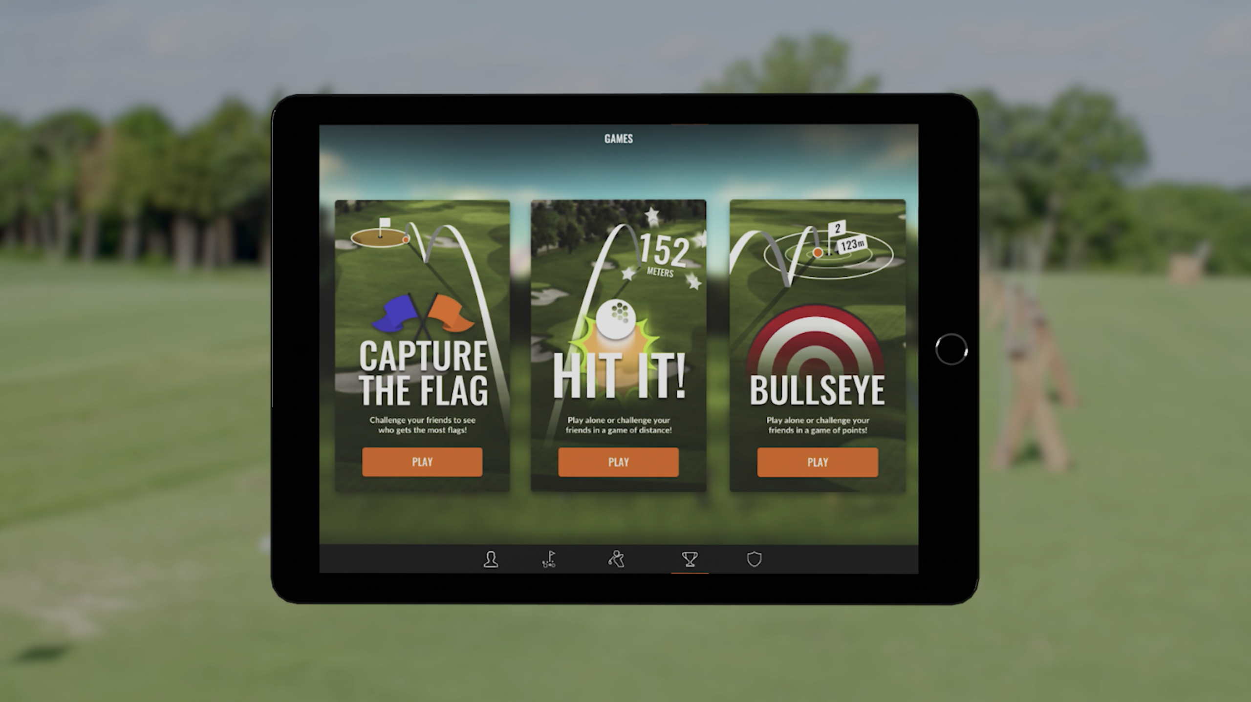 iPad screen with images of 3 games you can play with Trackman Range Games